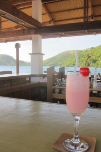 The welcome drink at Port Caltom's Reef Bar.