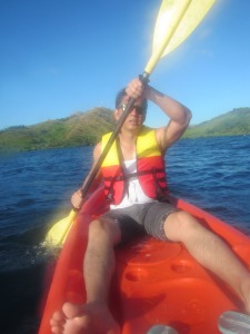 I do not even know if this is how your legs should be positioned while kayaking.  Looks pretty awkward to me.