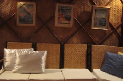 The framed posters on the wall are all in German. We were told that this resort is owned by a German guy. Good job, Sir!