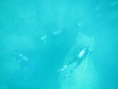 I took this shot of the divers frolicking below.